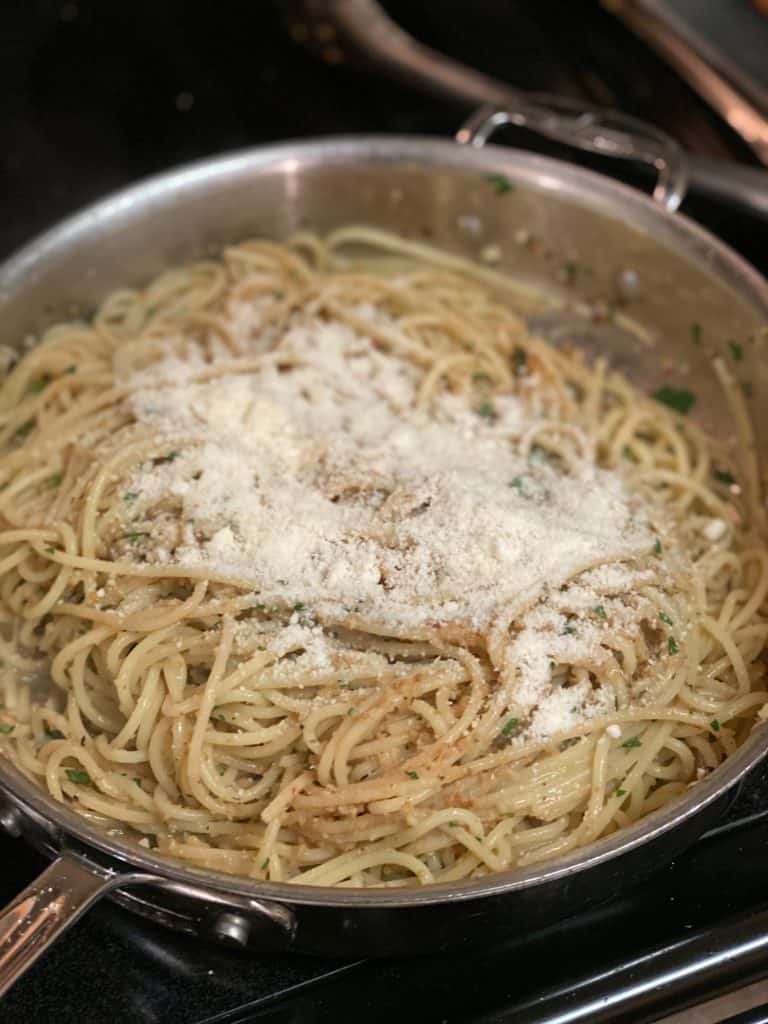 Parmesan Cheese on spaghetti