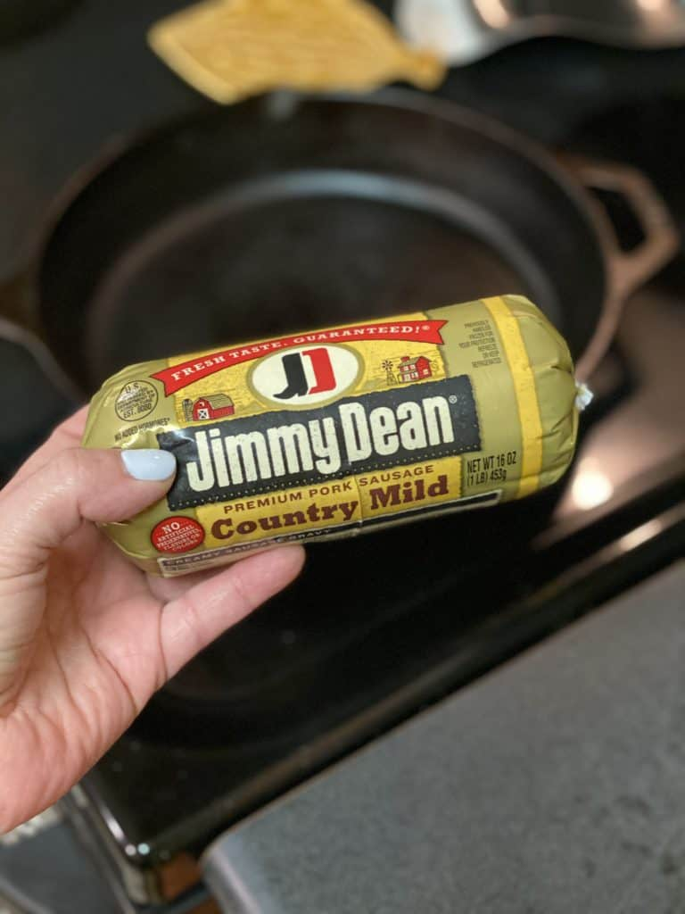 a roll of Jimmy Dean country sausage