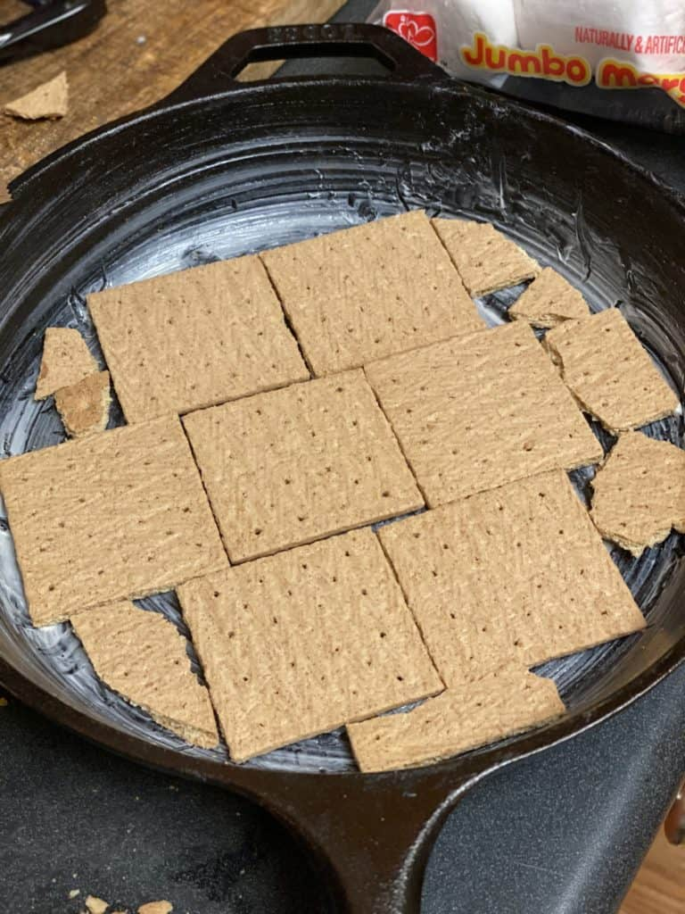 graham crackers in a cast iron pan