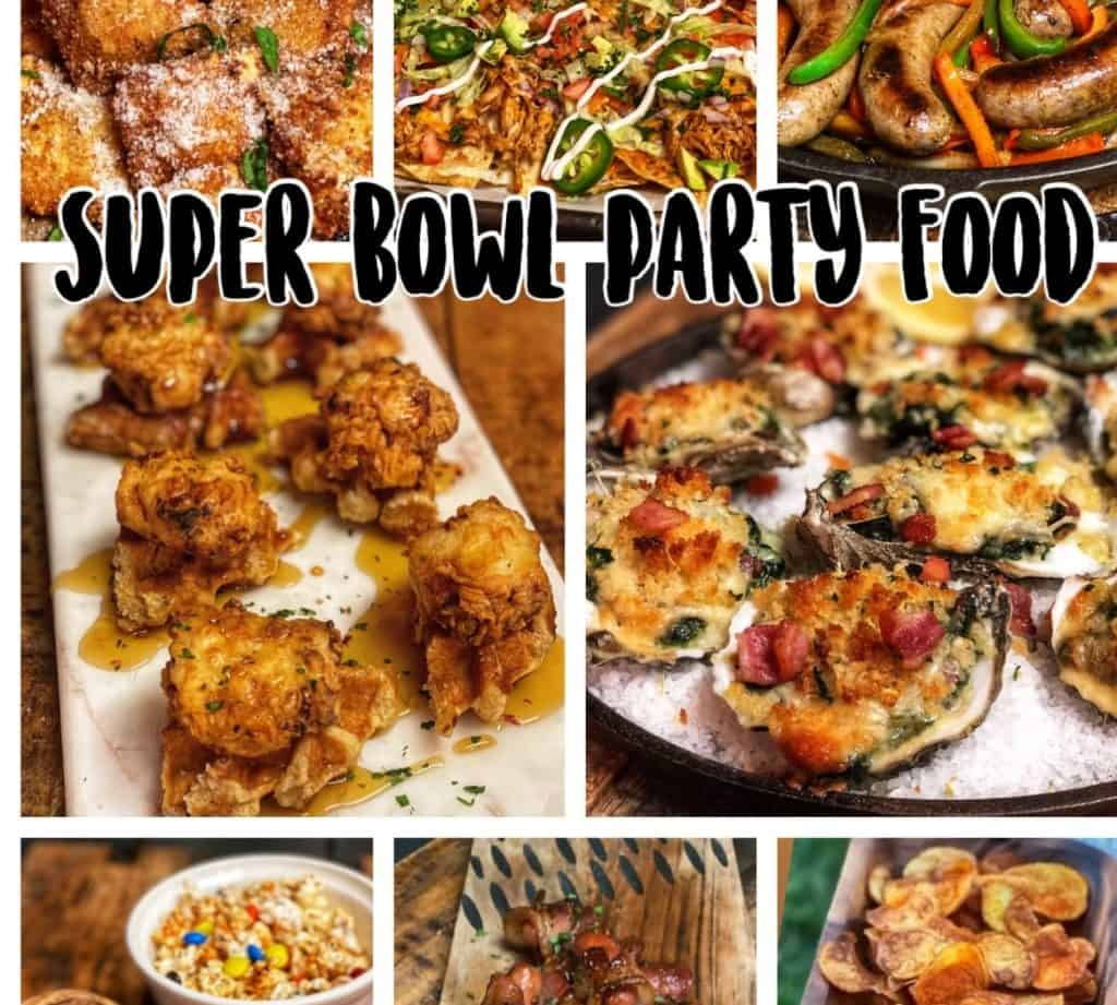 a collage of super bowl party food with the same text