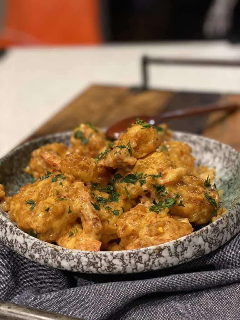 a bowl of bang bang shrimp