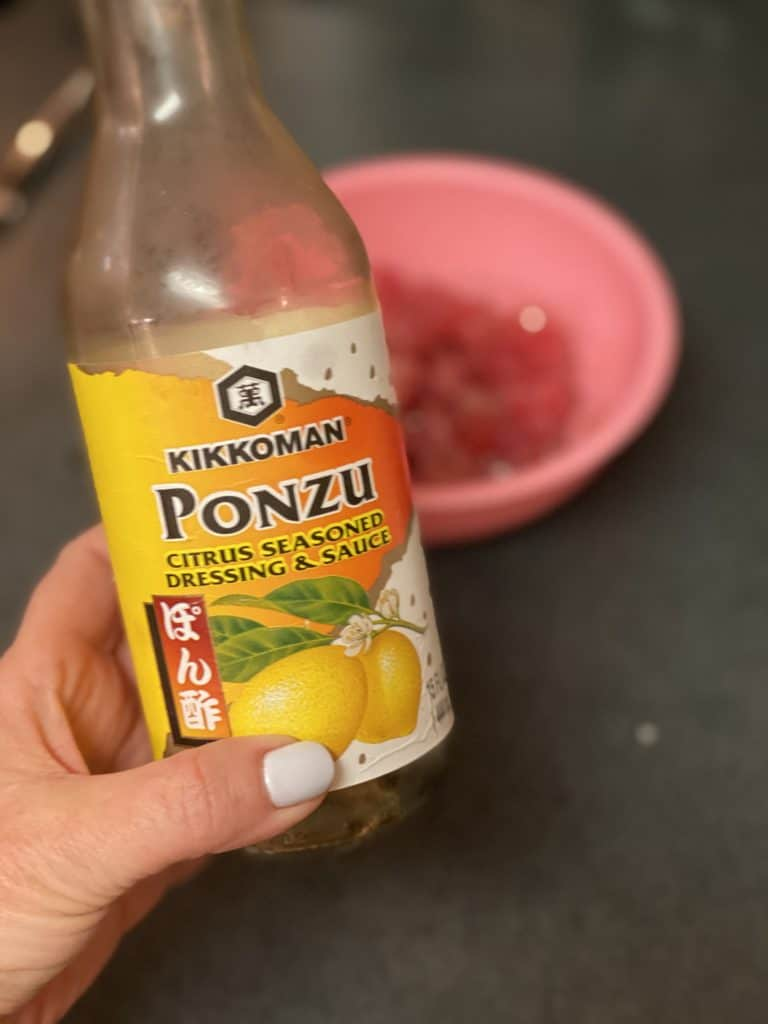 a bottle of ponzu sauce