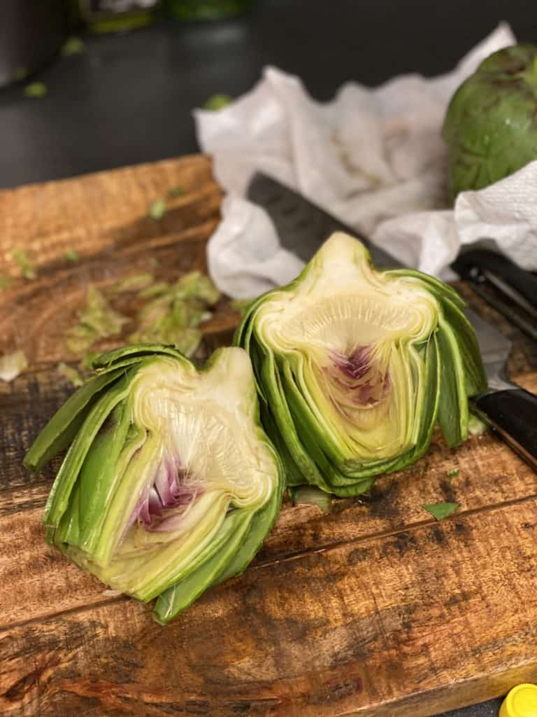 an artichoke cut in half