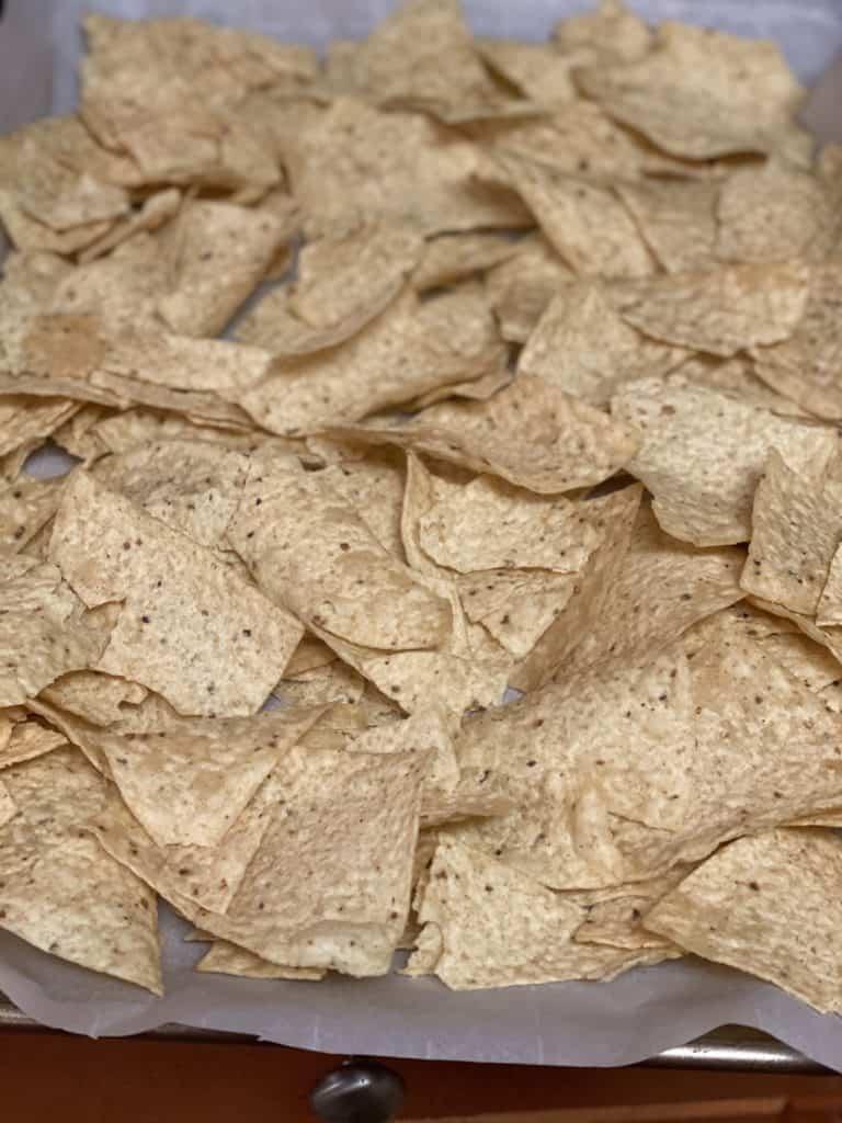 tortilla chips on a sheet pan