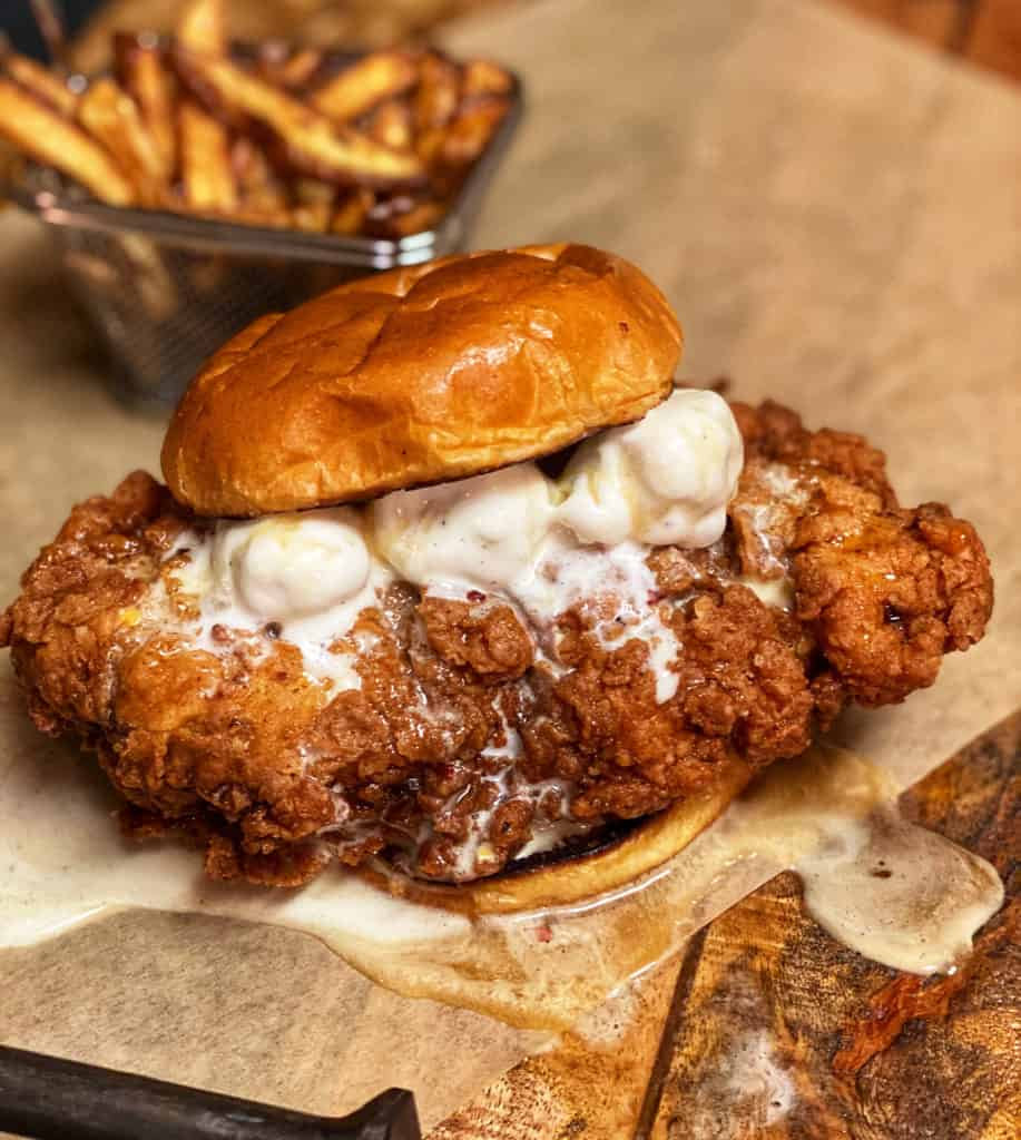 the best fried chicken sandwich with ice cream and honey