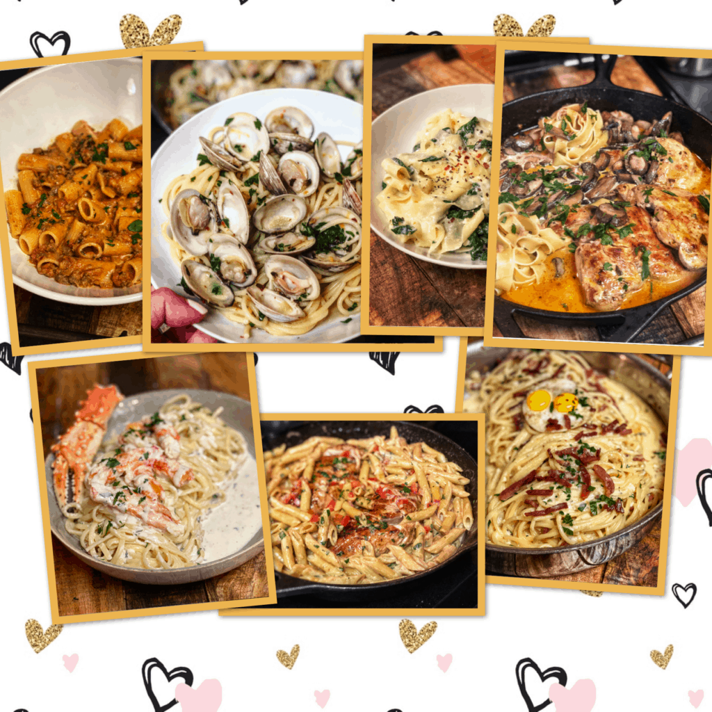 a pasta collage pic for options for a Valentine's day dinner at home