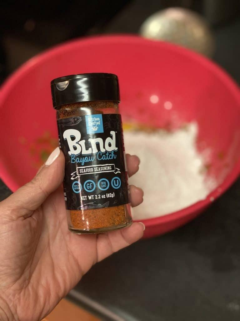 a bottle of Bayou Catch seasoning blend