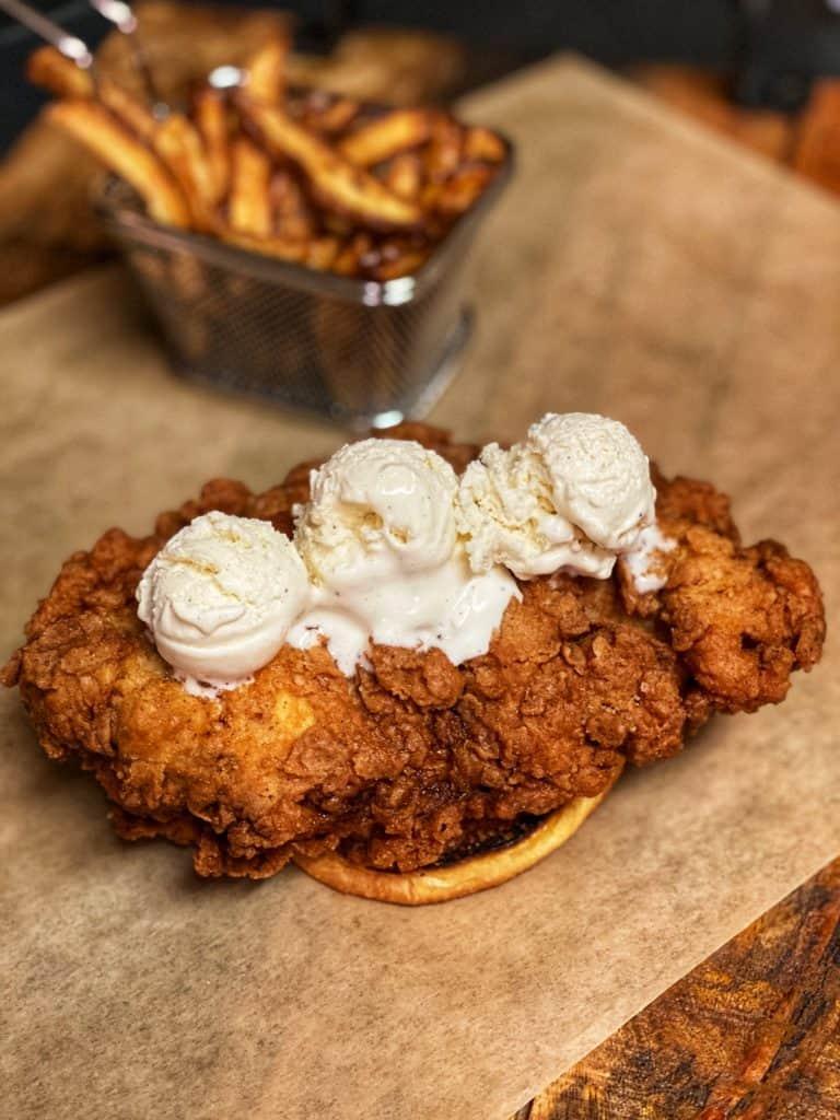 ice cream on the best fried chicken sandwich