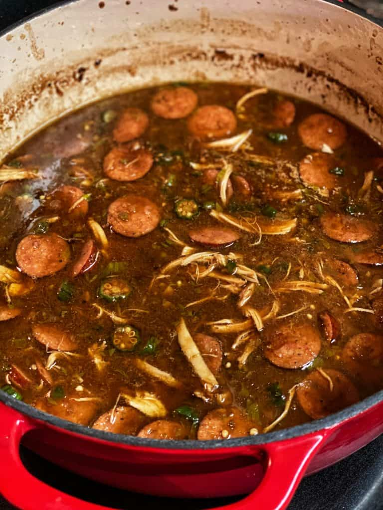 a pot of gumbo simmering