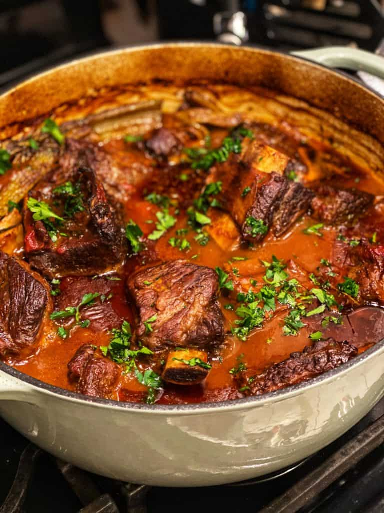 a pot of the best braised short ribs