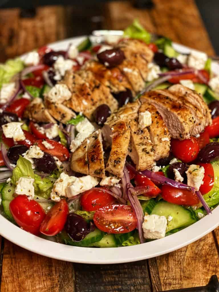 a Greek salad with sous vide chicken