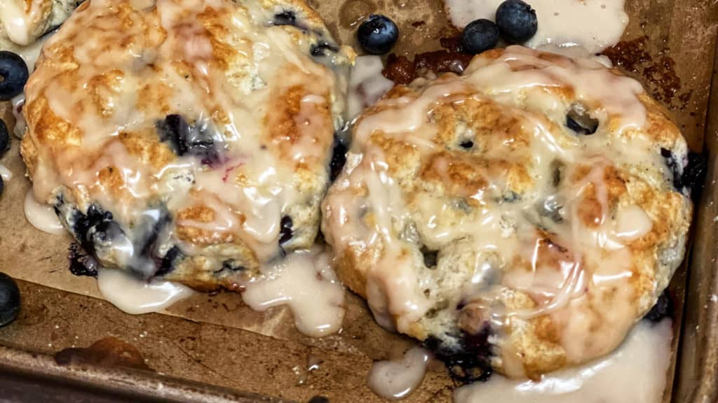 a pan of blueberry biscuits