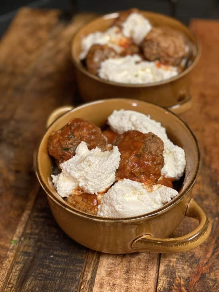 two bowls of meatballs with ricotta cheese