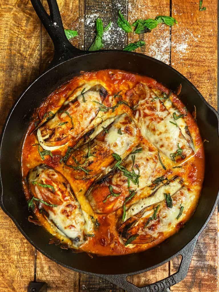 Low-Carb Eggplant Parmesan in a cast iron pan