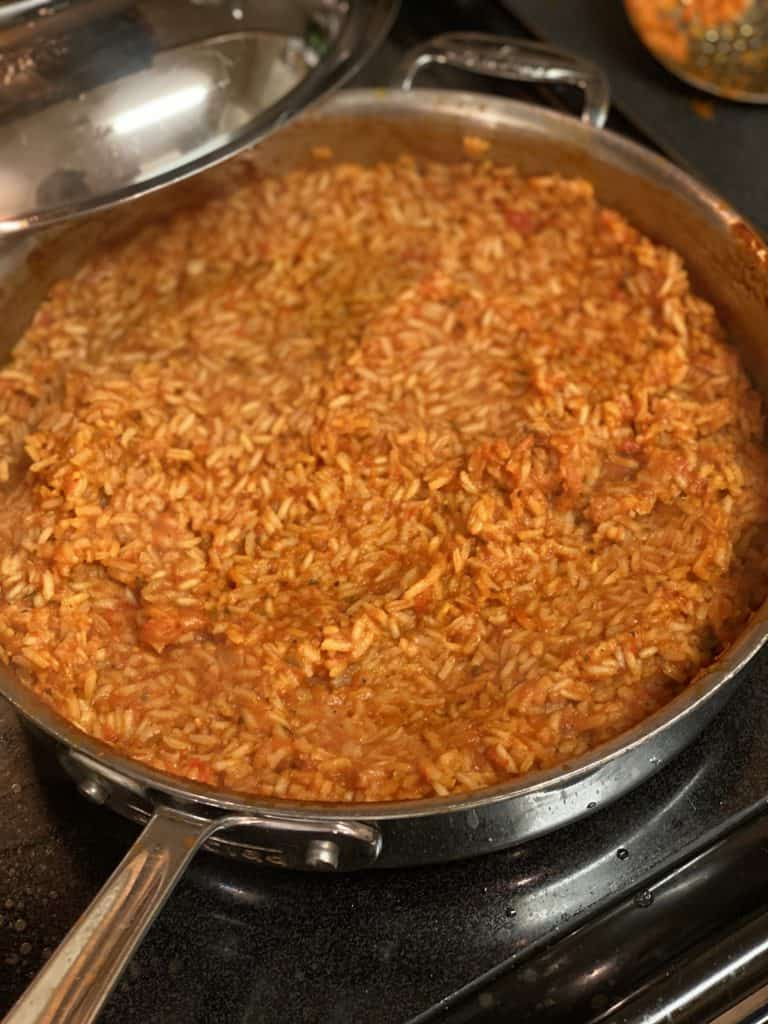 a pan of Jollof rice