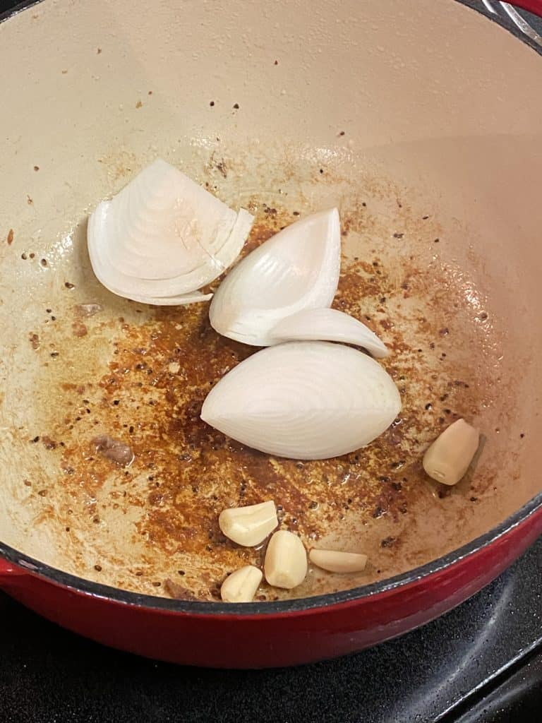 onions and garlic in a pot