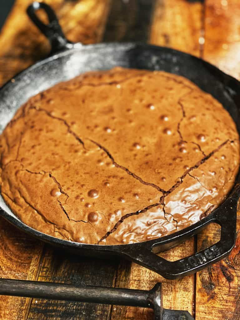 brownies baked in a cast iron skillet