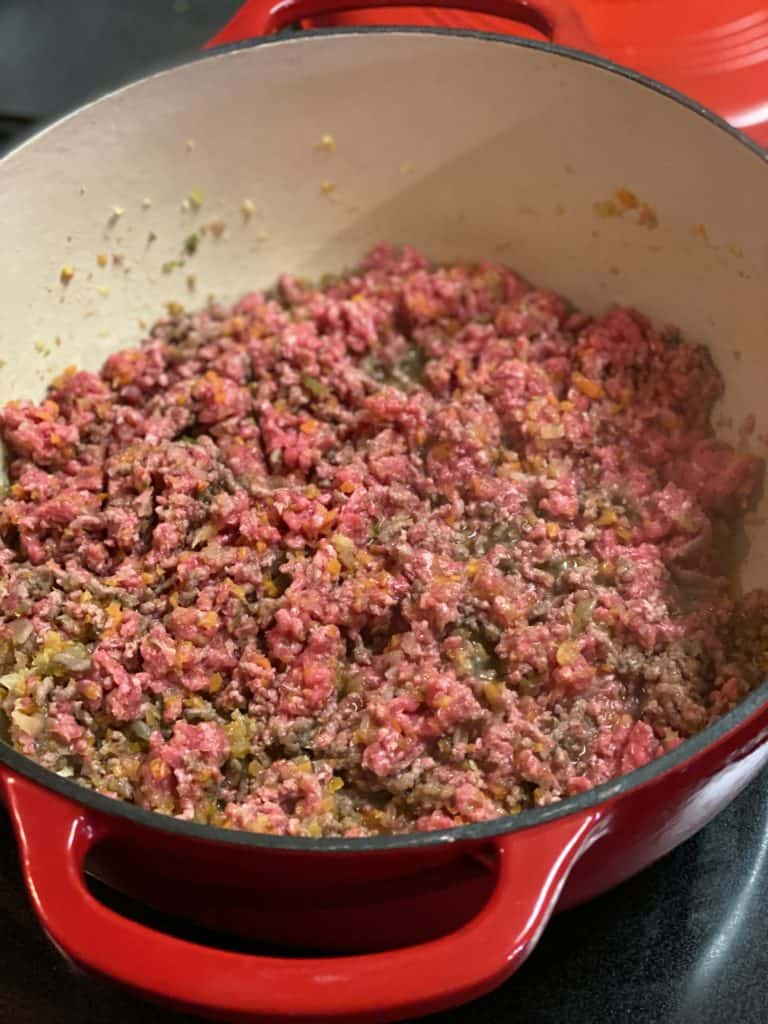 ground meat cooking in a pot