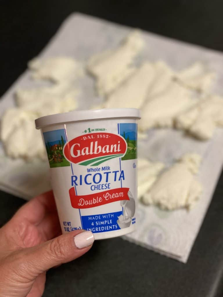 a container of Galbani ricotta cheese for homemade ricotta gnocchi