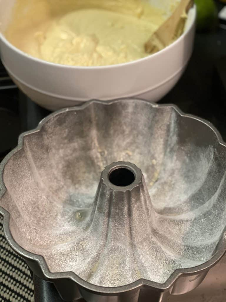 a bundt pan lined with flour for pound cake