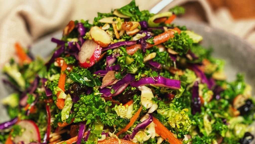 a bowl of Asian Kale salad