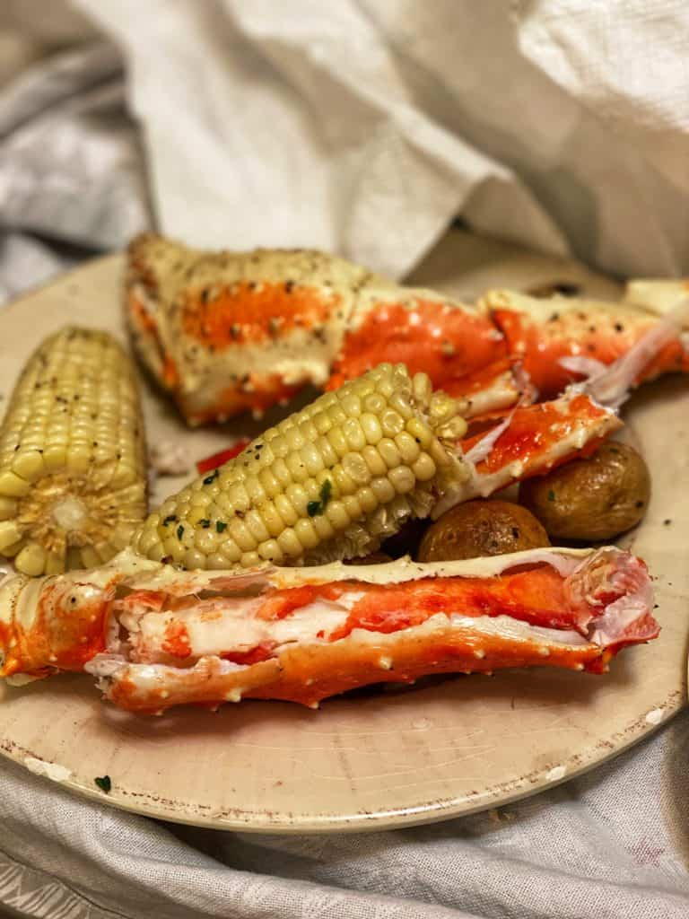 crab legs and corn