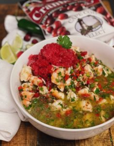 a bowl of ceviche with cranberry jalapeno granita
