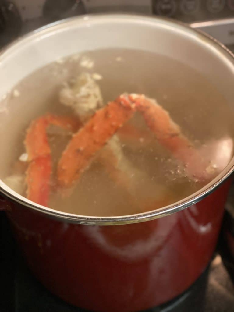 king crab warming in water for my king crab feast