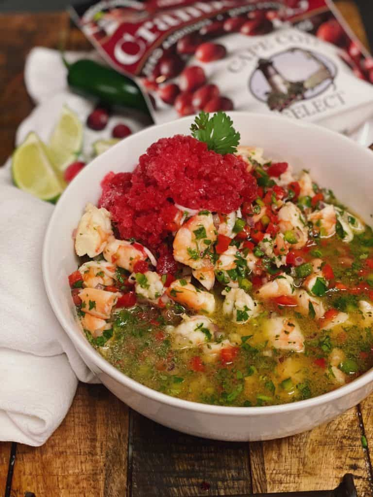 ceviche with cranberry jalapeno granita