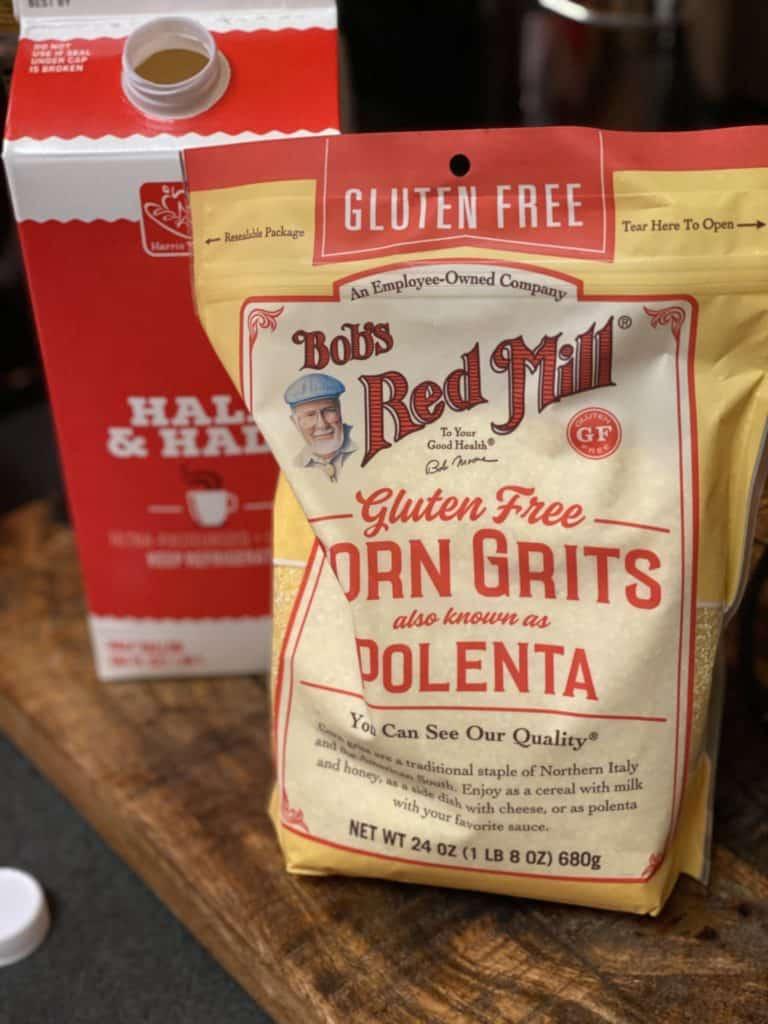a bag of polenta and a carton of half and half
