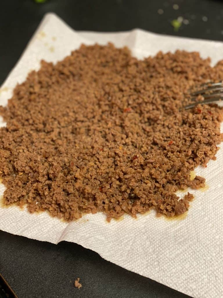 ground sausage on a paper towel