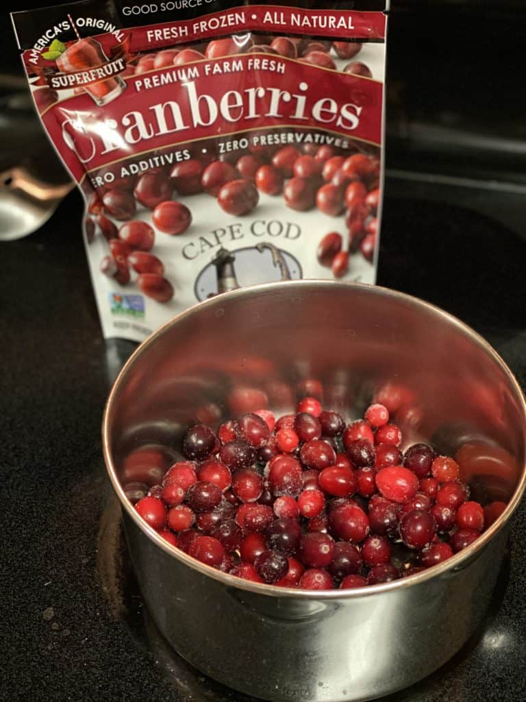 a pot of frozen cranberries