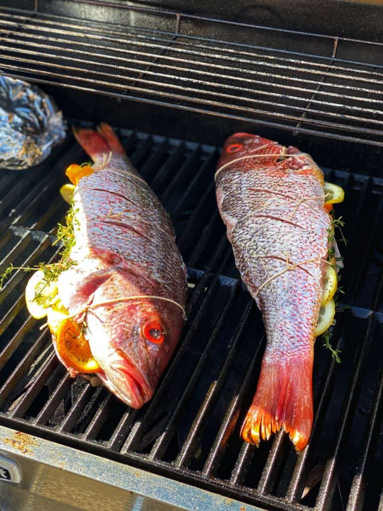 whole fish tied up and on the grill