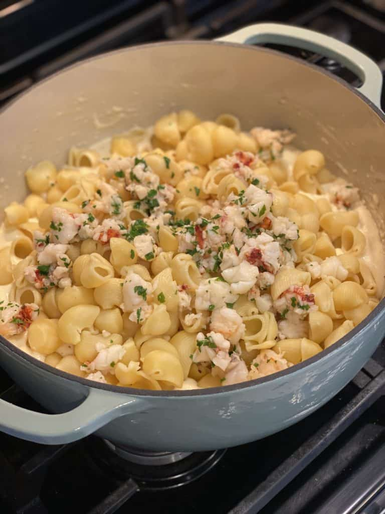 lobster mac and cheese in a pot
