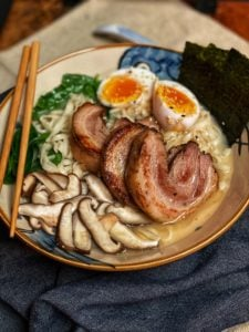 a bowl of Tonkotsu Ramen with Chashu pork belly