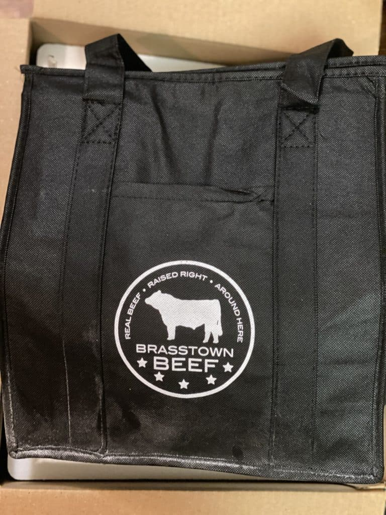 a black thermal bag from Brasstown Beef