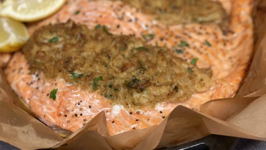 a piece of crab stuffed salmon