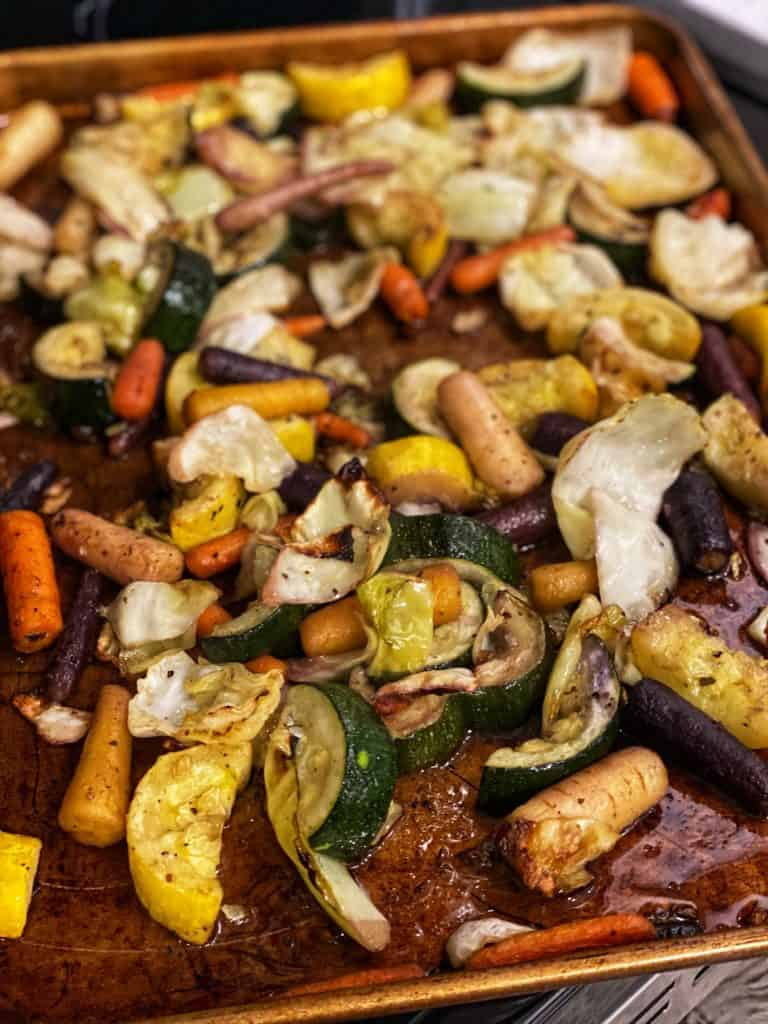 a pan of roasted root vegetables