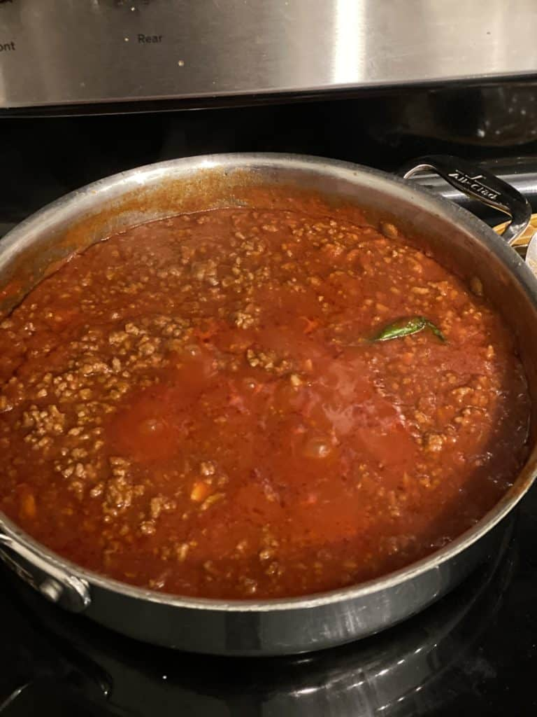 meat sauce in a pan