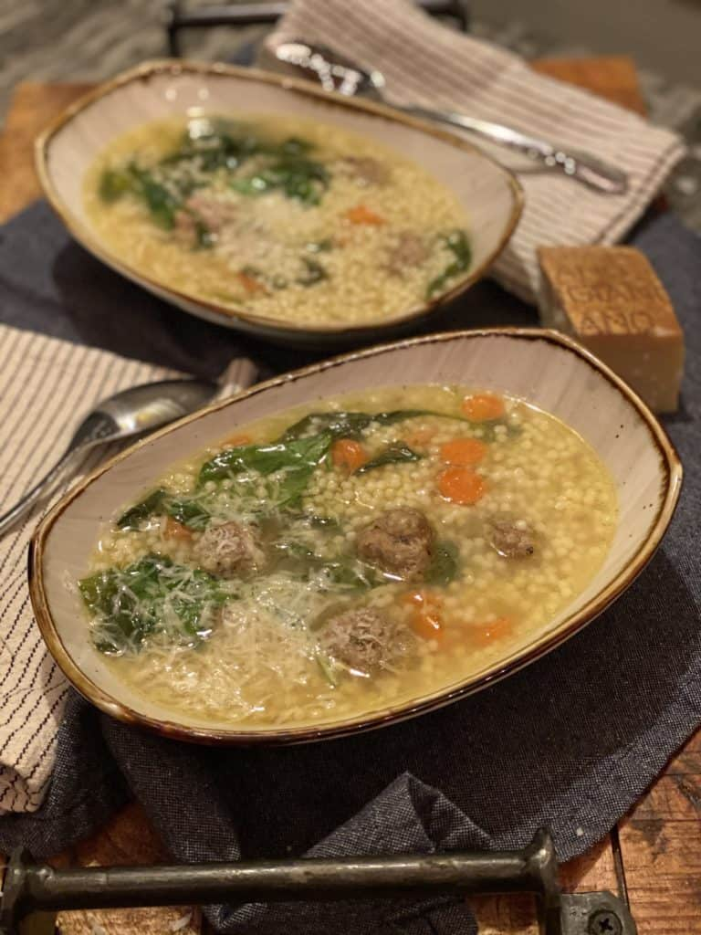 two bowls of Italian wedding soup