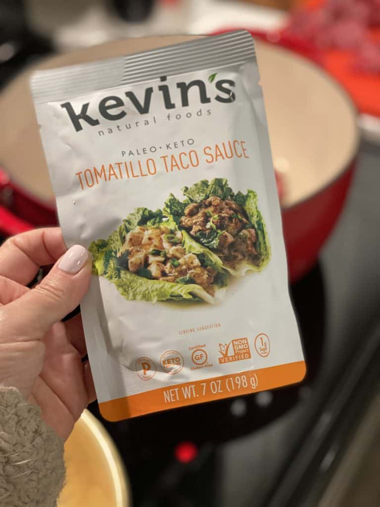 a pouch of Kevin's Natural Foods Tomatillo Taco Sauce