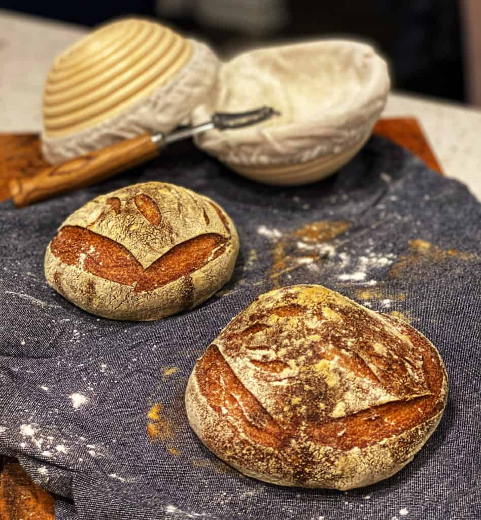 two sourdough bread bowls laying on a blue towel