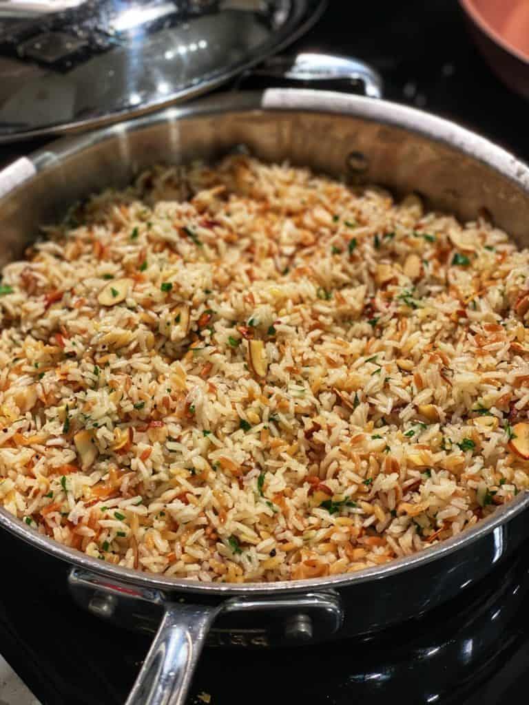 a pan of almond rice pilaf