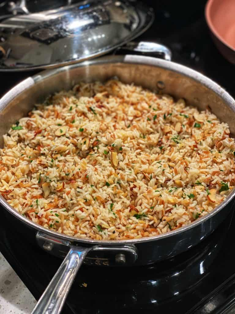 a pan of almond rice pilaf