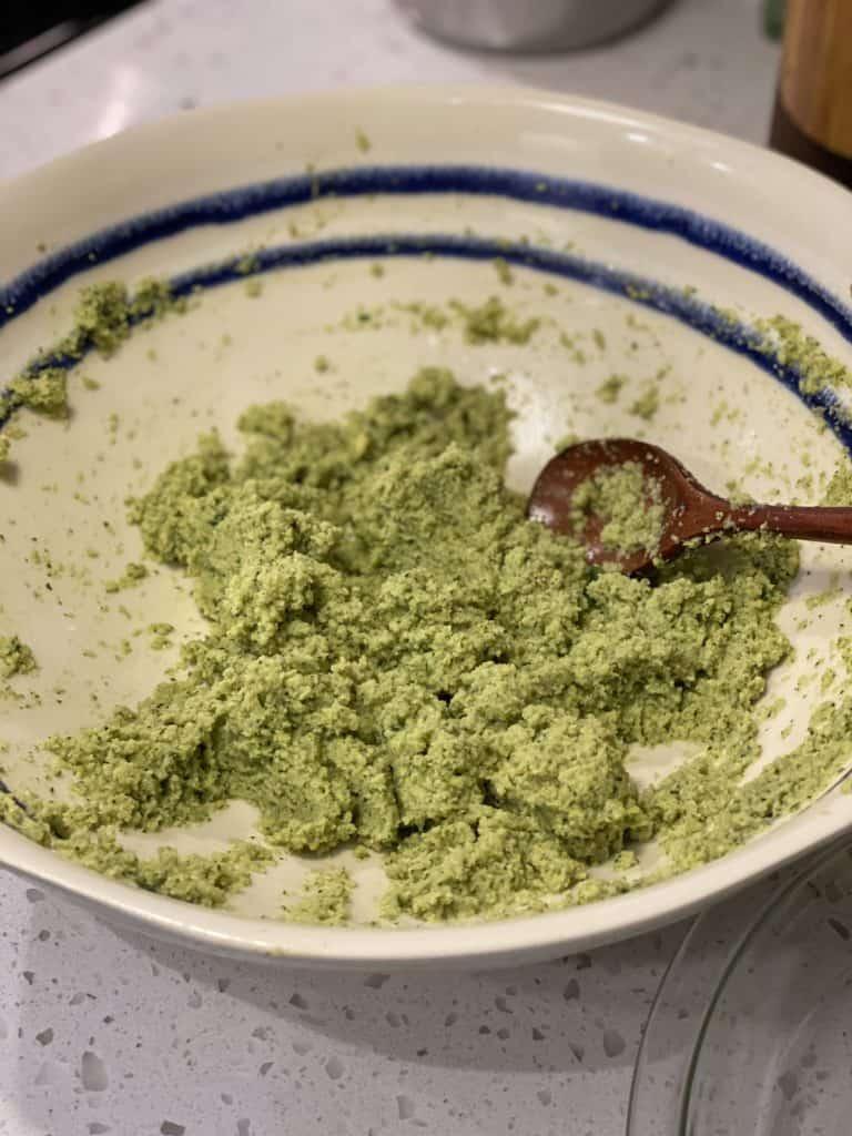 a bowl of falafel mixture