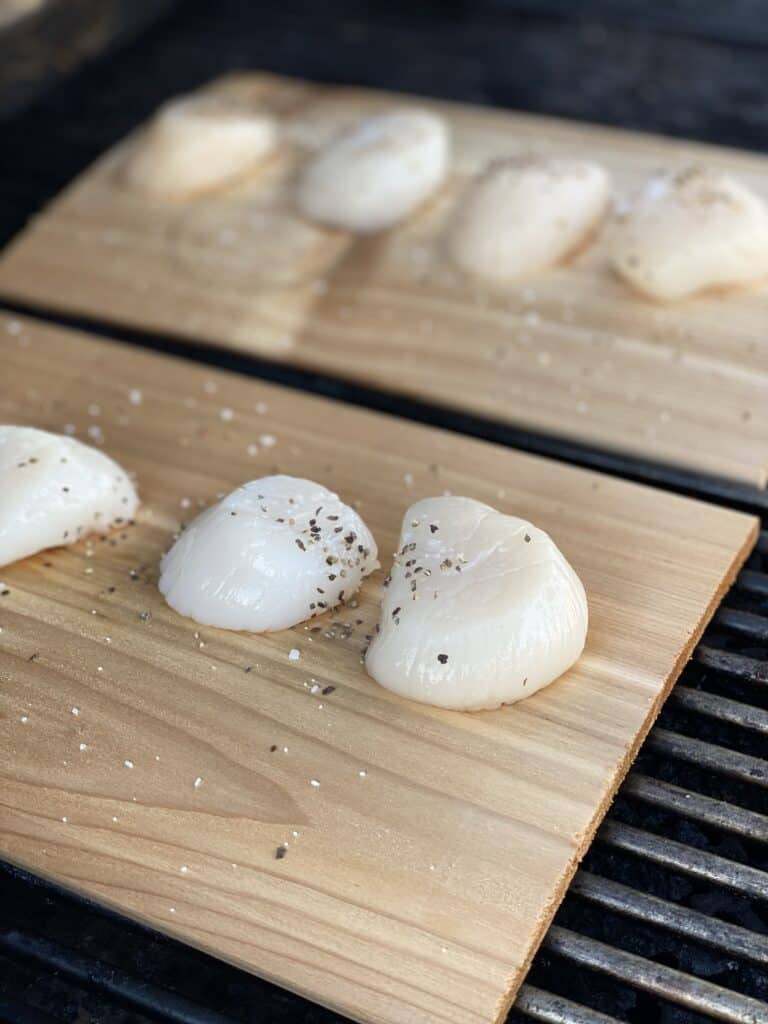 raw scallops sitting on two cedar planks on the grill